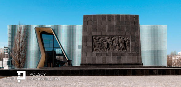 The POLIN Museum building with Ghetto Heroes Monument behind