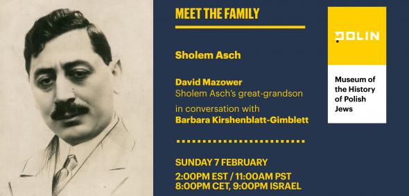 "A board: Shalom Ash's portrait in black and white, on the right side title: ""Meet the Family"""