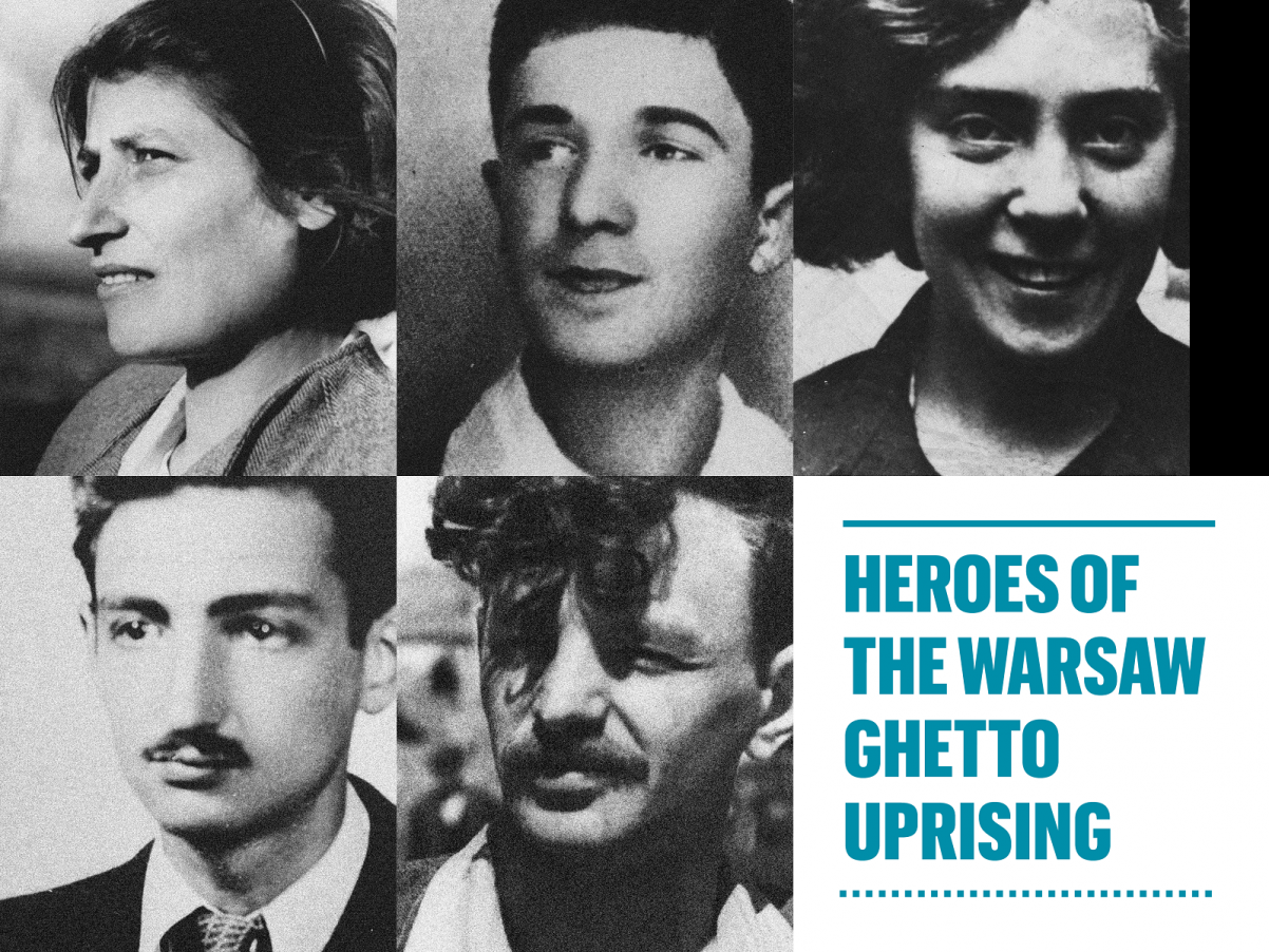 An illustration: from left top: Celina Lubetkin, Mordechaj Anielewicz, Tosia Altman, Marek Edelman, Icchak Cukierman, and the text: Heroes od the Warsaw Ghetto Uprising
